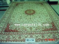 量大优惠=沙特阿拉伯地毯10x14ft 真丝波斯地毯 手工打结真丝地毯