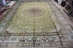 收藏品366x549cm 中國最好的特大手工真絲波斯地毯