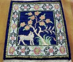 present handmade persian small silk rug 1x1 ft