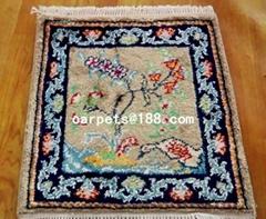 handmade silk carpet persian small handmade rug 1x1 ft
