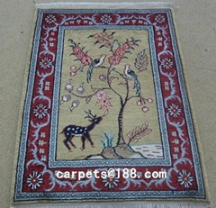 穆斯林真丝祈祷毯子 1.5x2 ft 手工波斯地毯