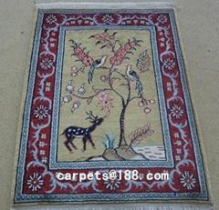 高级穆斯林真丝祈祷毯子 1.5x2 ft 手工波斯地毯
