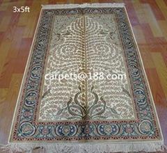 荷蘭歡迎的天然植物染色 波斯地毯 真絲地毯 3X5 ft