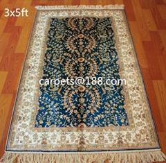 手工植物染色波斯圖案 祈禱毯子 3X5 ft 古董地毯 美國地毯