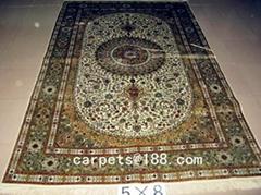 handmade persian silk carpet size 5x8 ft 600 L