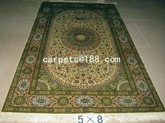 手工波斯地毯 size 5x8 ft 700 L真丝地毯
