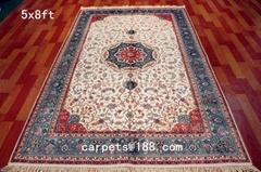波斯富贵天然蚕丝波斯地毯5x8 手工真丝毯子在亚美丝毯厂