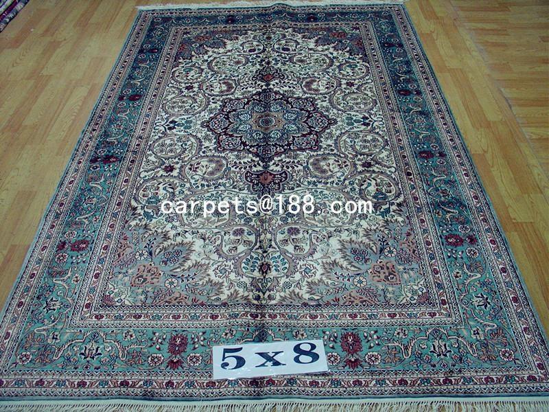 批发供应波斯地毯 5x8ft 波斯地毯 手工真丝地毯 2