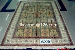 Production of super grade handmade silk carpet 6x9ft, Persian pattern wholesale