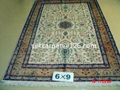 同苹果手机一样品6x9 ft 古董毯子,手工真丝地毯,质波斯地毯