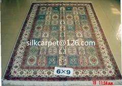手工真丝波斯地毯 6x9 ft 壁挂,古典图案 艺木挂毯