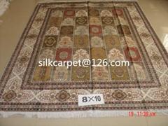 一个非常富有财神的高级手工真丝波斯地毯 8X10 ft