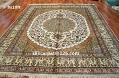特优波斯真丝地毯8X10 ft 100%天然蚕丝地毯