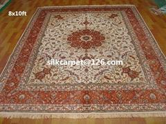 供應皇宮真絲挂毯 天然蠶絲地毯 手工波斯地毯 8X10 ft