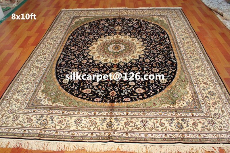 优质手工丝绸波斯真丝地毯-8X10 ft 亚美地毯  1