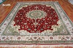 波斯地毯 仿古地毯 手工打结真丝地毯8X10 ft