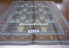 供应手工天然蚕丝地毯 8X10 ft 祈祷挂毯