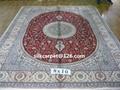 天然蚕丝波斯图案同奔驰一样品质8X10 ft的手工地毯 2