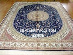 波斯富贵优恵德国真丝挂毯 手工 真丝波斯地毯 8x10ft