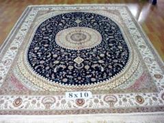 手工真絲波斯地毯 8x10ft 美國地毯,波斯富貴優恵德國挂毯