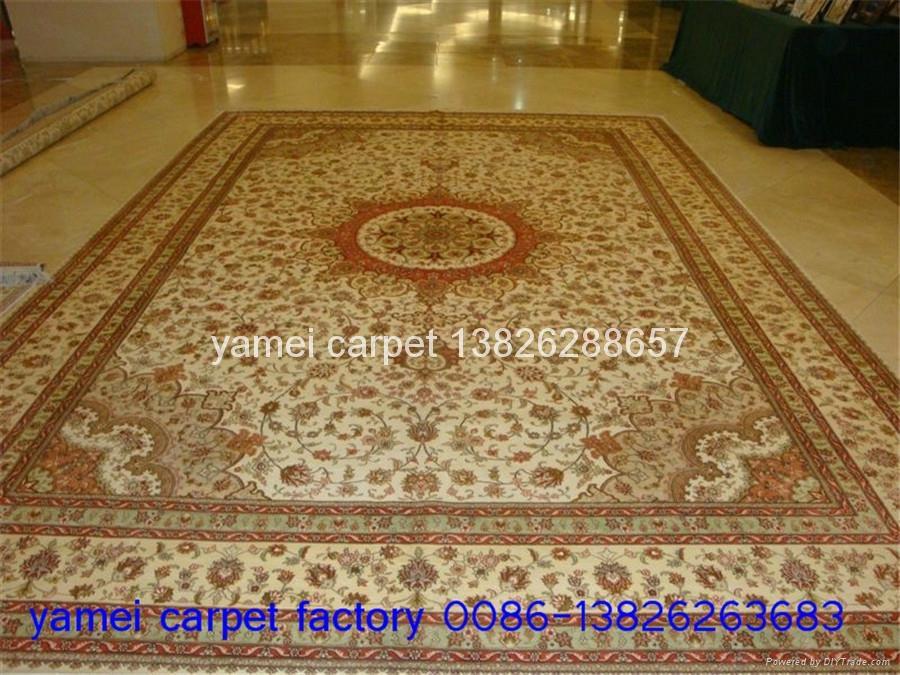 沙特阿拉伯地毯10x14ft 工厂直供手工打结真丝波斯地毯 1