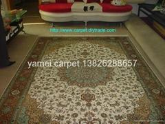 生产手工金丝地毯9x12ft 真丝挂毯