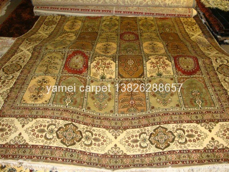 天然蚕丝波斯图案同奔驰一样品质8X10 ft的手工地毯 1