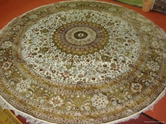 批发手工园形美国 比利时 加拿大 真丝地毯 手工地毯12x12ft