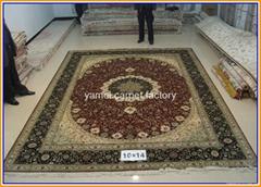 批发客厅专用手工真金丝地毯和挂毯