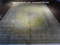 桑蚕丝手工艺术地毯 金色丝绸波