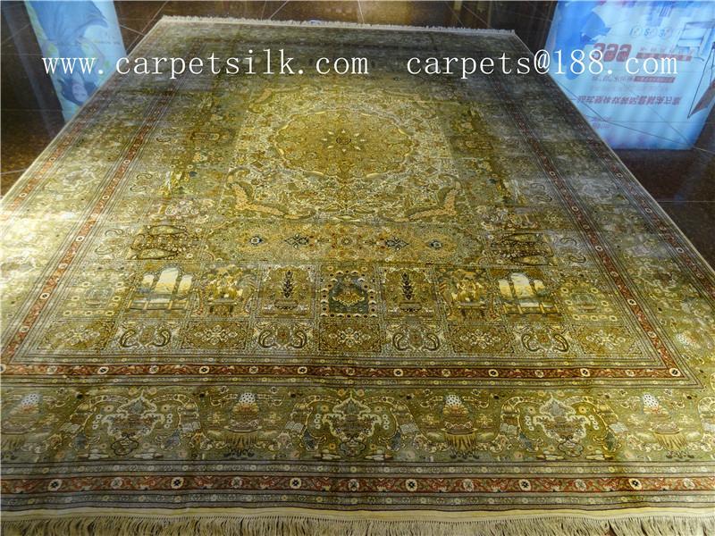 优质手工真丝挂毯 沙特阿拉伯地毯 古董艺术地毯 天然蚕丝地毯 1