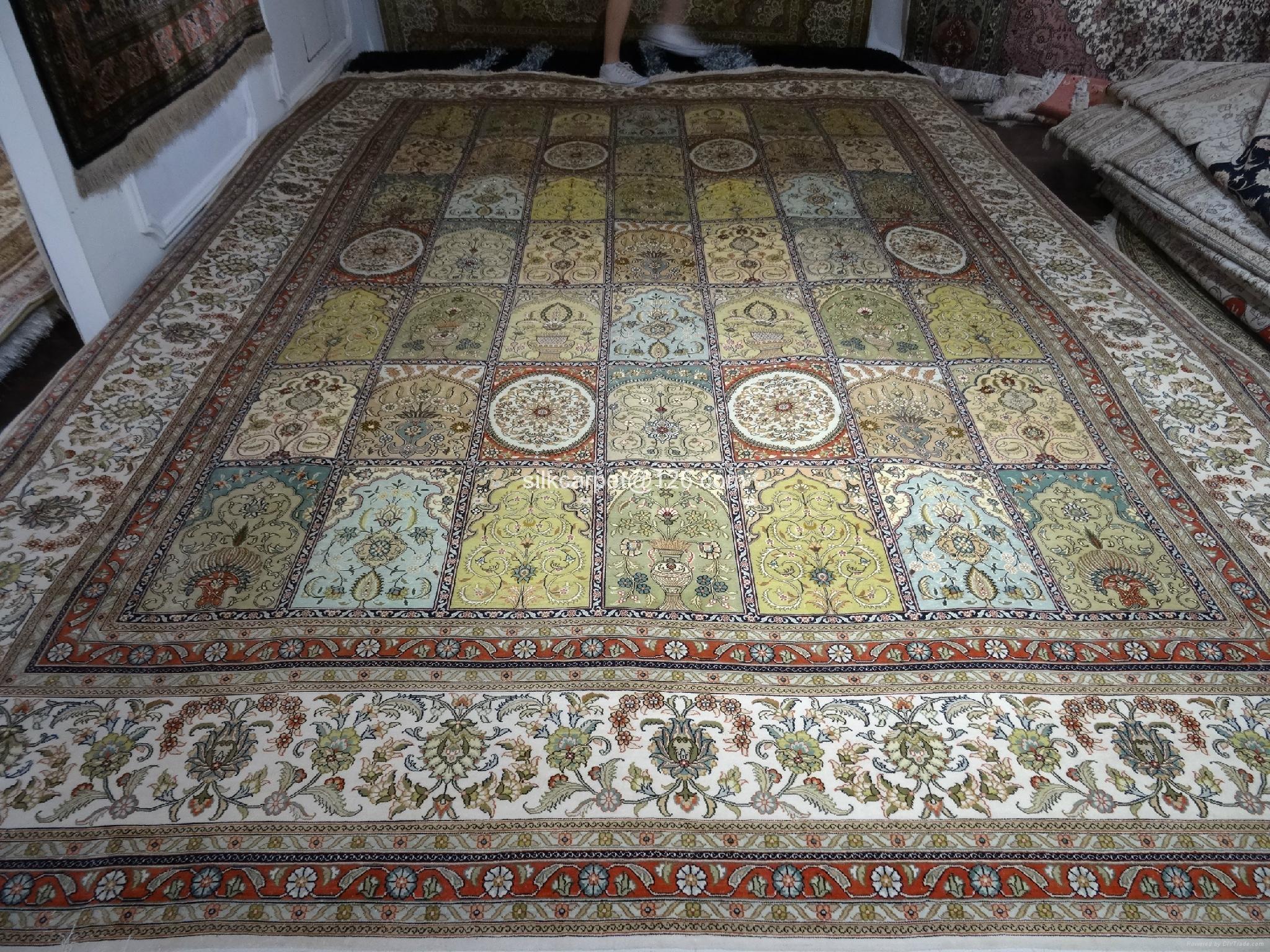 优质桑蚕丝波斯地毯10 x13ft 手工古典图案 1