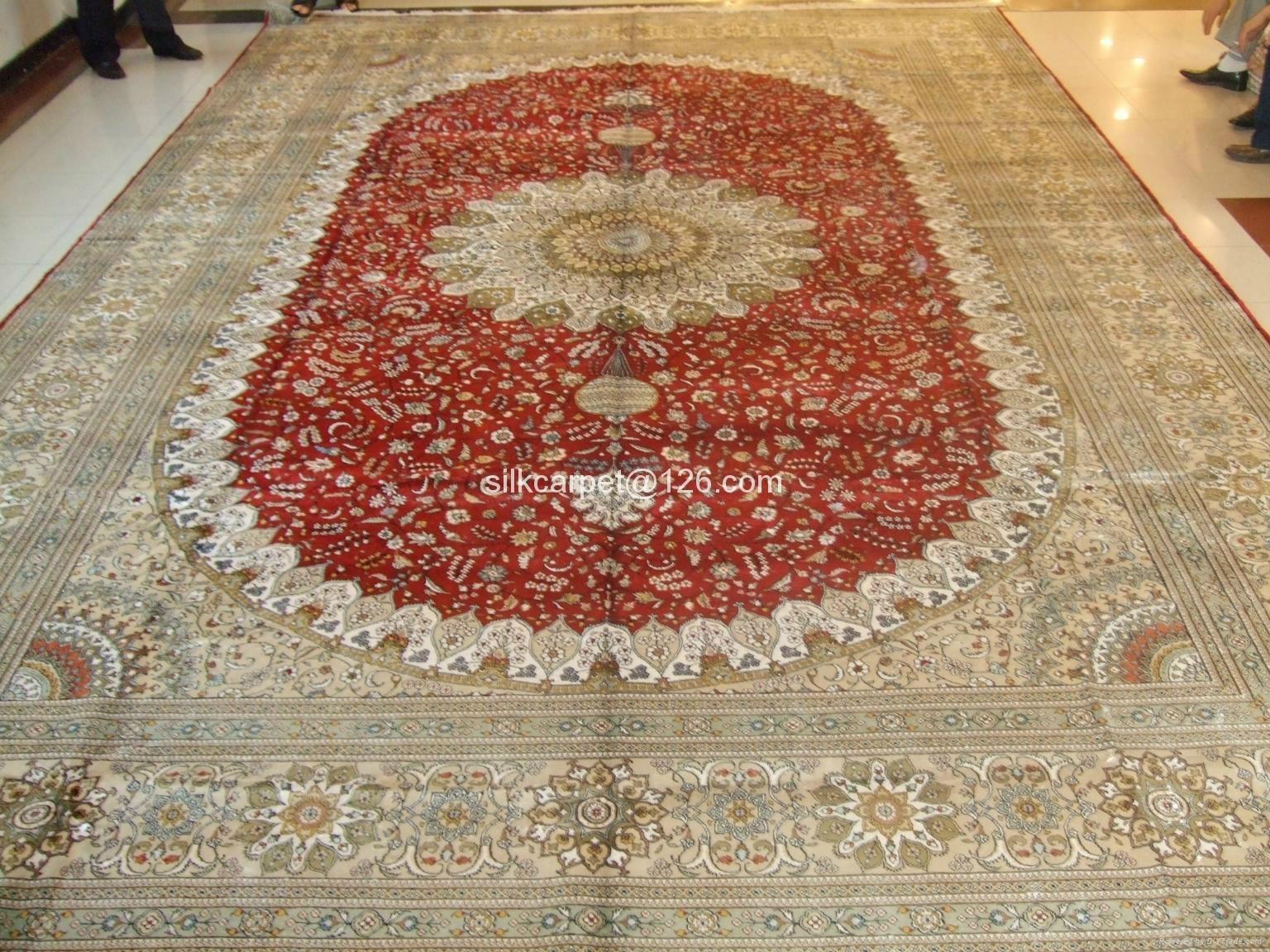 中国   天然染色波斯地毯 祈祷地毯18 X12 ft 手工真丝挂毯 1