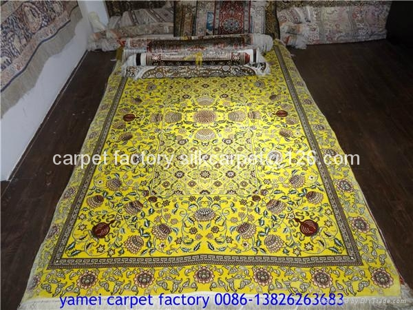 natural plant dyeing silk carpet 4x6 ft handmade silk carpet 1