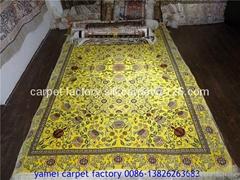 natural plant dyeing silk carpet 4x6 ft Handmade silk carpet