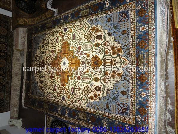 天然植物染色丝绸祈祷地毯-亚美地毯厂供应金丝挂毯 1