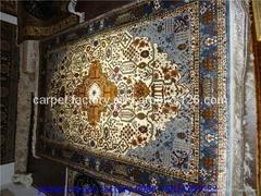 天然植物染色絲綢祈禱地毯-廣交會供應金絲挂毯