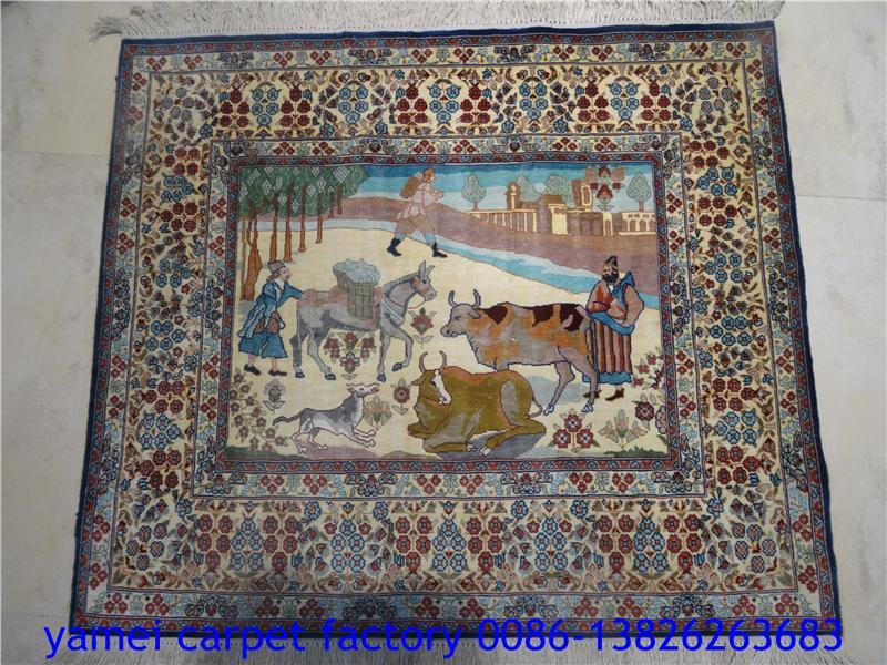 中國最好的100%手工真絲藝朮挂毯 波斯地毯/挂毯 1