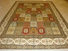 生產特級波斯真絲地毯 6X9ft,手工絲綢波斯圖案