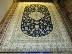 波斯富貴雍容華貴天然蠶絲波斯地毯5x8ft 手工真絲毯子