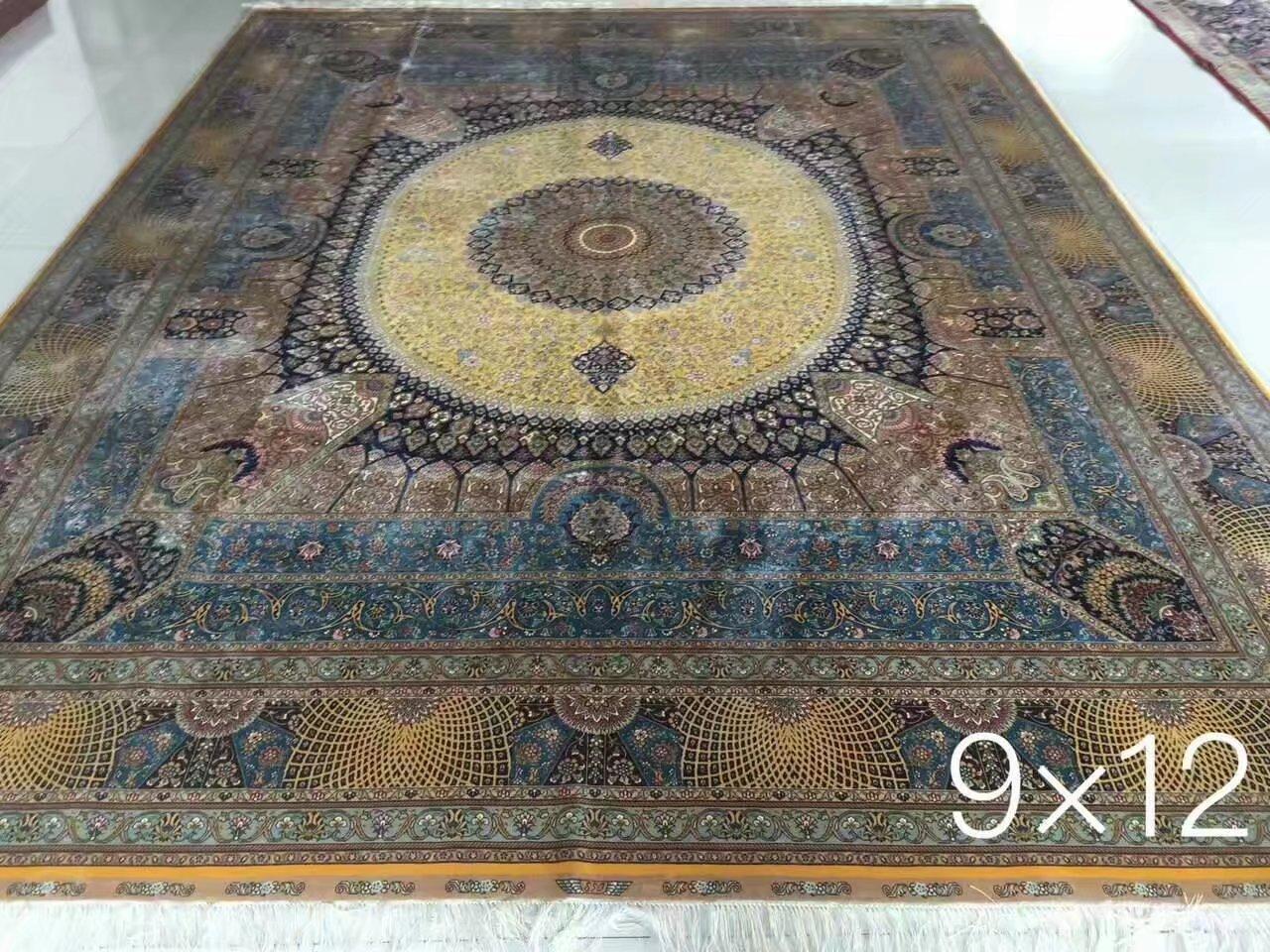 广州批发最新设计手工真丝波斯地毯 1