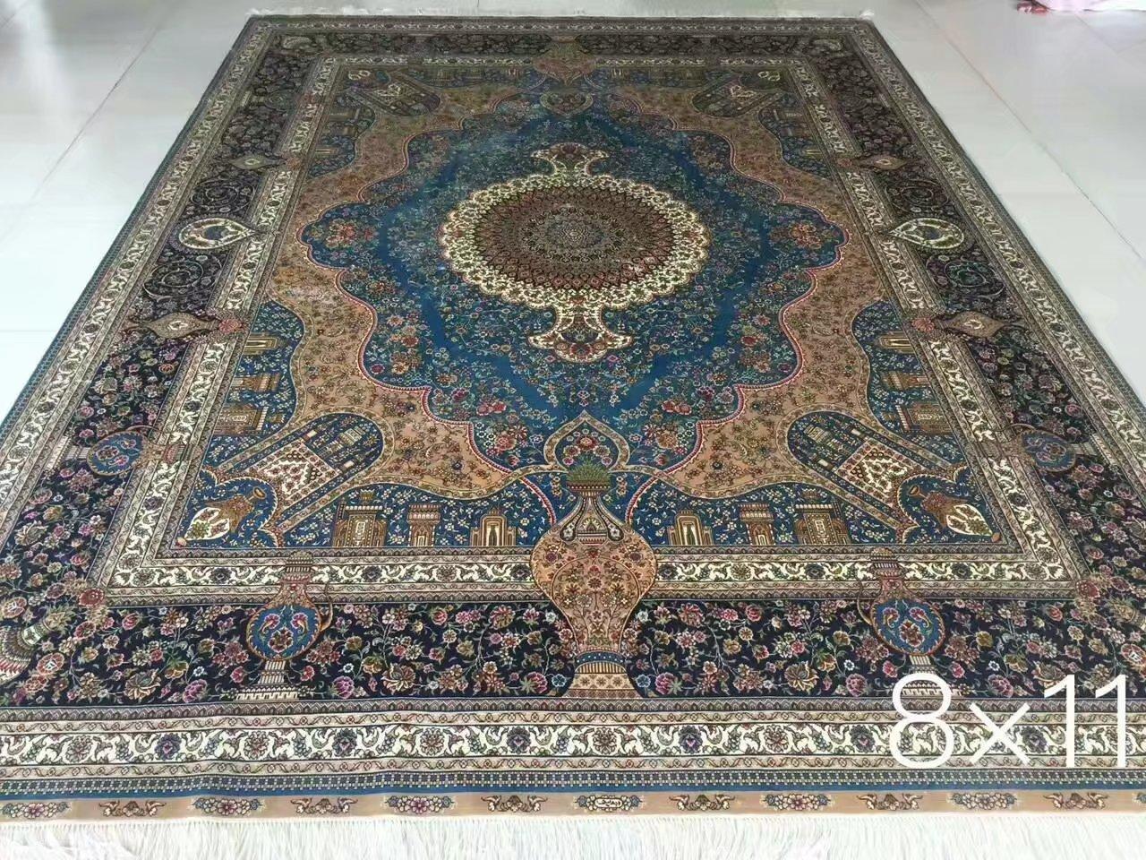 广州批发最新设计手工真丝波斯地毯 5