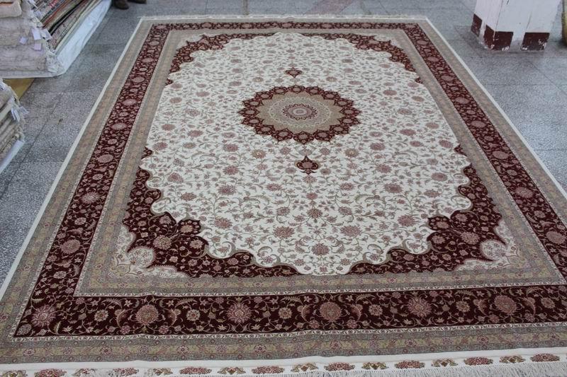 批發純手工地毯 手工打結絲毛合織地毯 波斯圖案 1