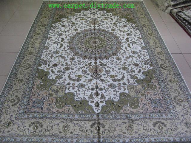 400线6'x9'手工打结丝绸地毯,古老米色波斯手工地毯  1