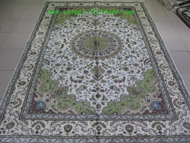 400线6'x9'手工打结丝绸地毯,古老米色波斯手工地毯  2