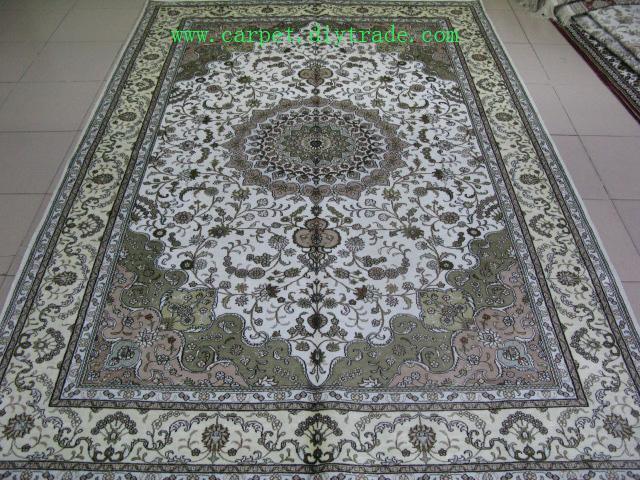 400线6'x9'手工打结丝绸地毯,古老米色波斯手工地毯  4