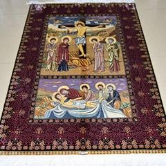 批发手工地毯 水洗波斯地毯 真丝艺术挂毯 再现盛世金辉阳光壁挂