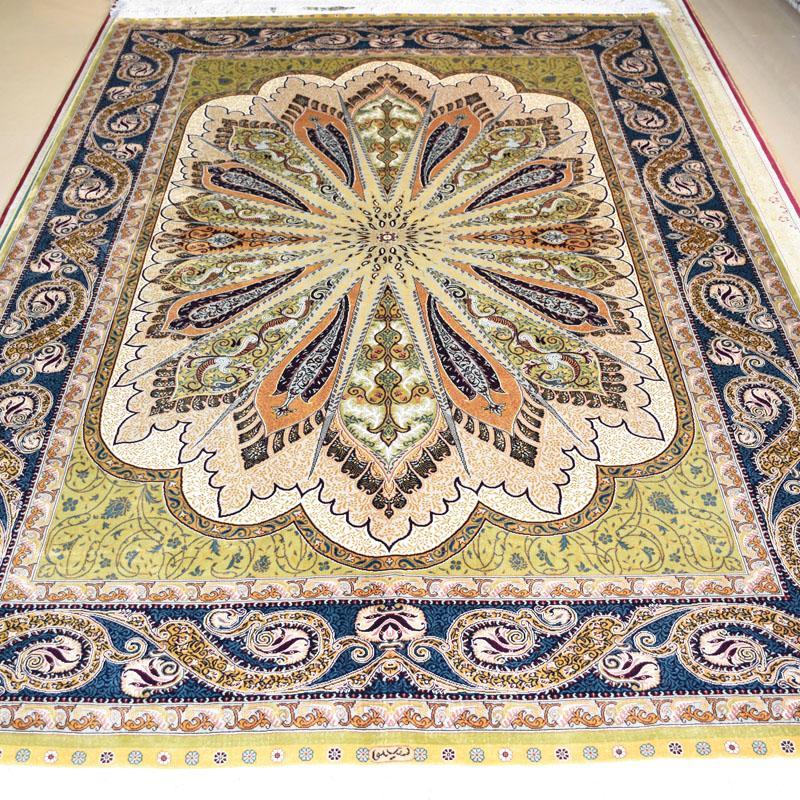 一个非常富有财神的高级手工真丝波斯地毯 8X10 ft 1