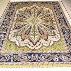 一个非常富有的高级手工真丝波斯地毯 8X10 ft