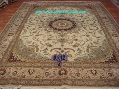 亚美厂定制手工高级挂毯及丝和羊毛地毯9x12